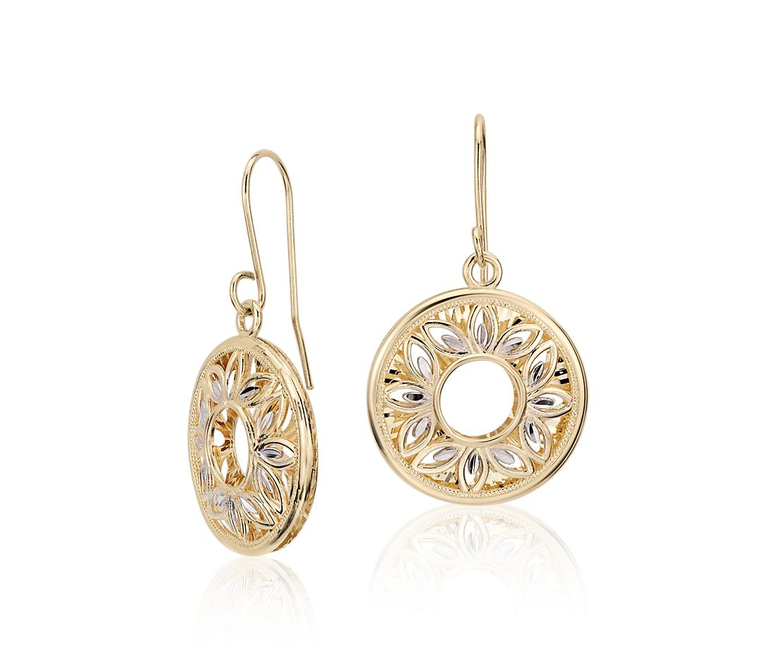 Floral Filigree Drop Earrings in 14k Yellow and White Gold