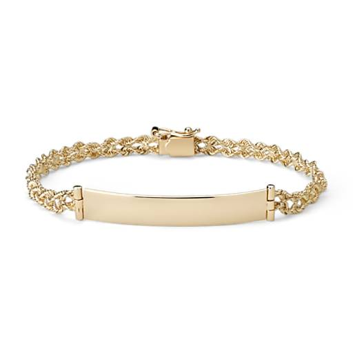 Engravable Id Bracelet In 14k Yellow Gold Blue Nile