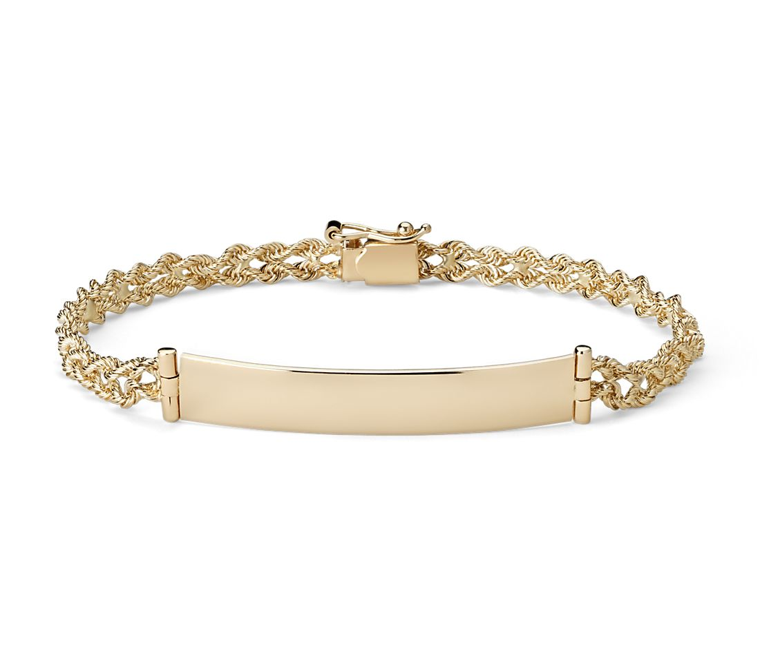 Gold Jewelry Bracelets: Engravable ID Bracelet In 14k Yellow Gold