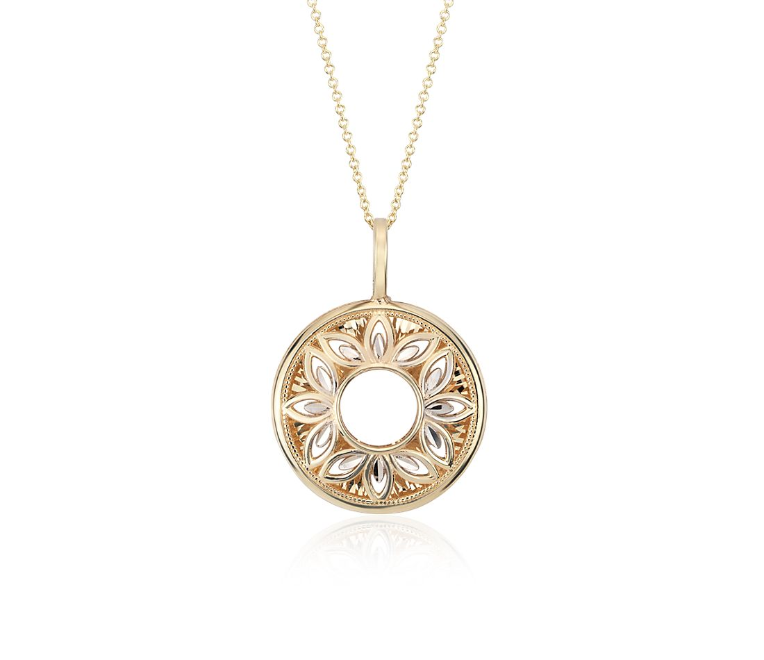 floral filigree pendant in 14k yellow and white gold