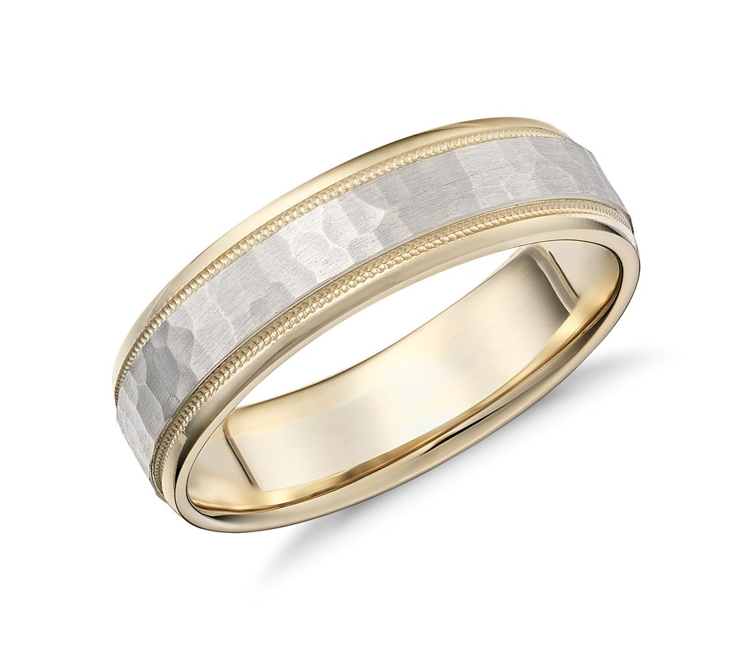 Hammered milgrain comfort fit wedding ring in 14k yellow for Wedding rings in white gold