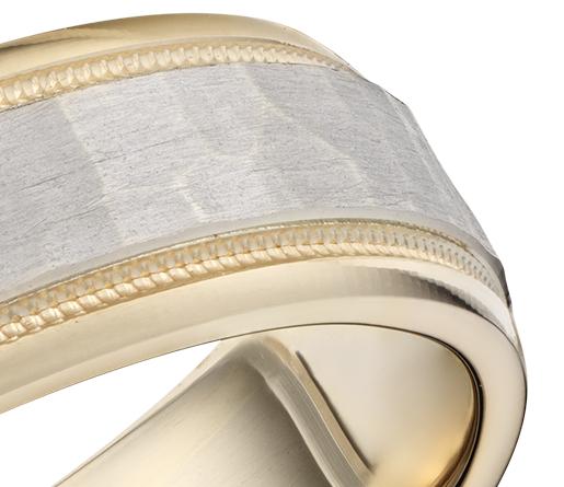 Alliance agréable à porter millegrain martelés en or jaune et blanc 14carats (6mm)