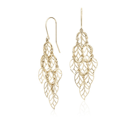 Leaf Chandelier Drop Earrings in 14k Yellow Gold