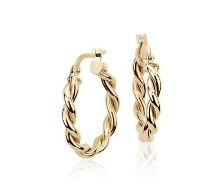 Twisted Hoop Earrings in 14k Yellow Gold