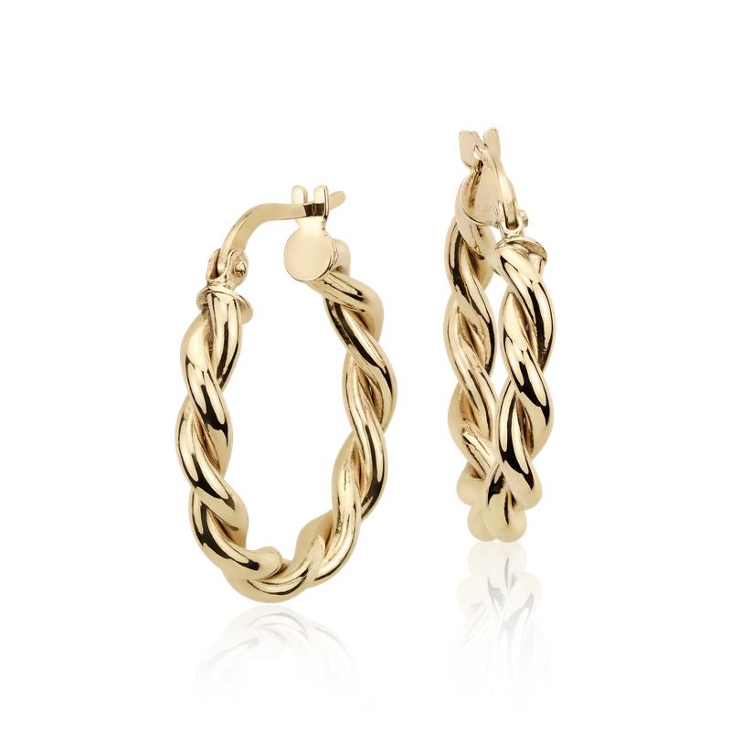 Twisted Hoop Earrings in 14k Yellow Gold