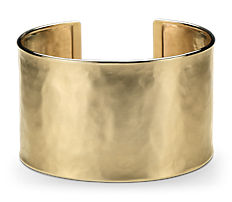Wide Hammered Cuff Bracelet in 14k Italian Yellow Gold