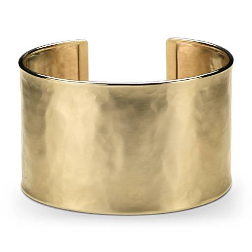Wide Hammered Cuff Bracelet In 14k Italian Yellow Gold Blue Nile