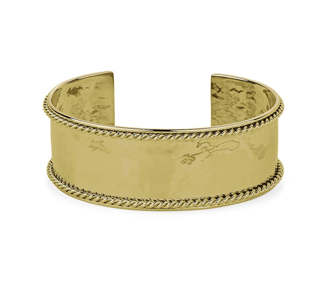 14k Italian Yellow Gold High Polished Cuff with Rope Detail