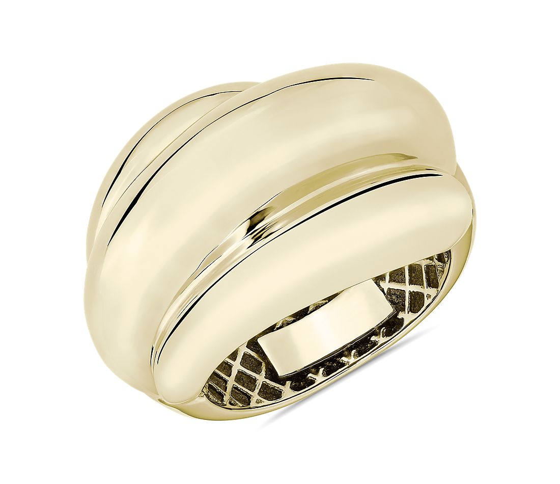 14k Italian Yellow Gold Triple Row Domed Ring
