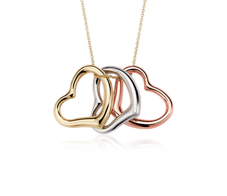 Heart pendant in 14k tri color gold blue nile heart pendant in 14k tri color gold aloadofball