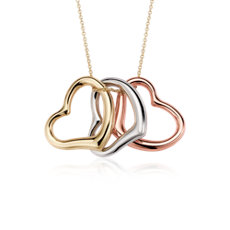 Heart Pendant in 14k Tri-Colour Gold