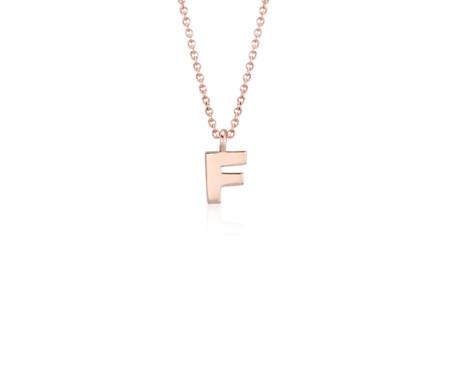 F mini initial pendant in 14k rose gold blue nile f mini initial pendant in 14k rose gold aloadofball Choice Image