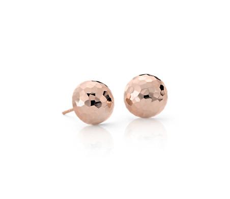 14k 玫瑰金 錘擊式耳釘耳環<br>( 9.5毫米)