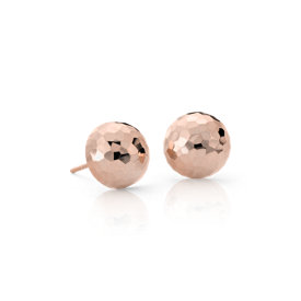 Hammered Stud Earrings in 14k Rose Gold (10mm)