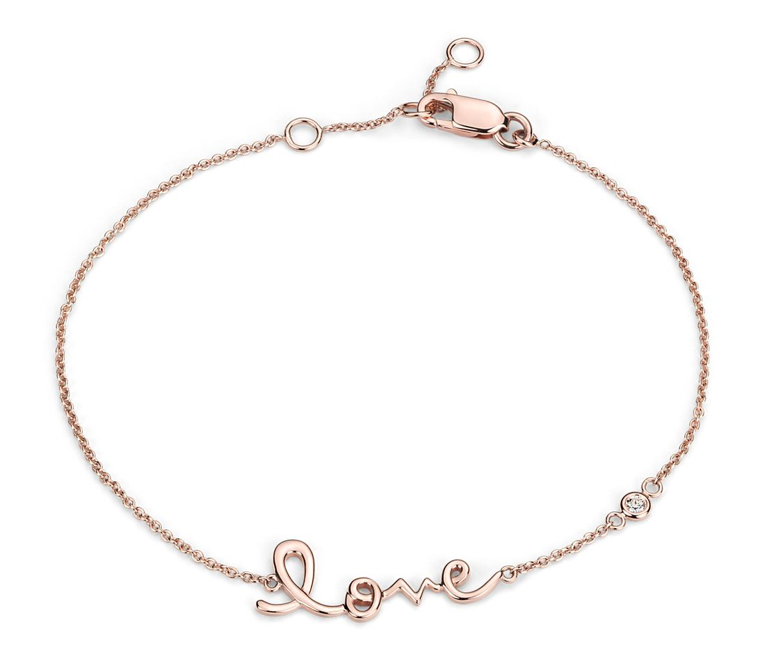 Bracelet amour en or rose 14 carats