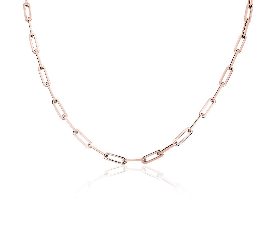 14k Italian Rose Gold Paperclip Chain Necklace