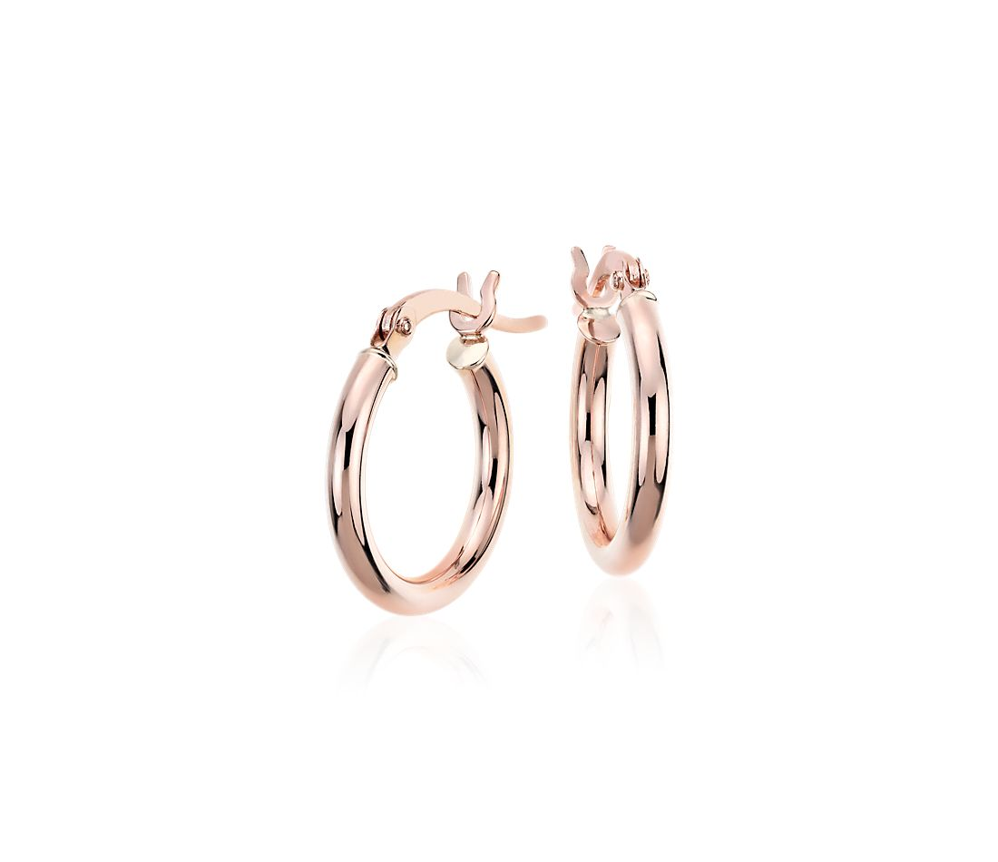 Small Hoop Earrings in 14k Rose Gold (5/8