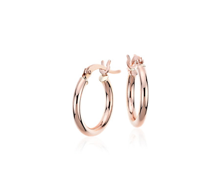 14k 玫瑰金 小巧圈形耳環<br>( 5/8 英寸)