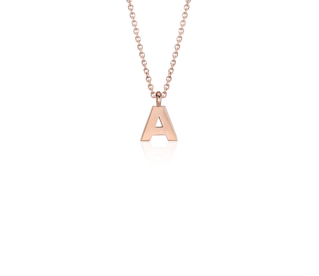 """A"" Mini Initial Pendant in 14k Rose Gold"