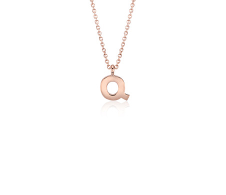 Blue Nile Q Mini Initial Diamond Pendant in 14k Yellow Gold