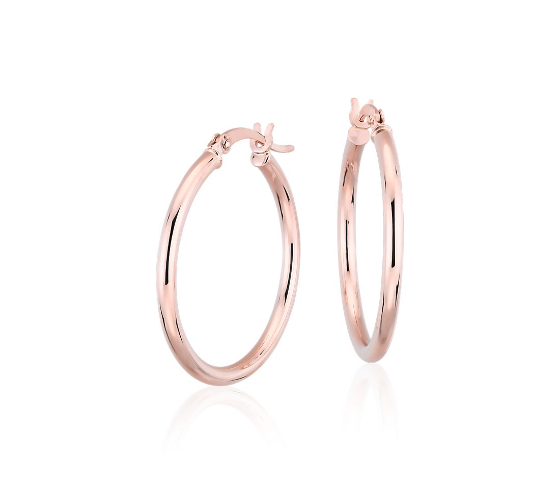 "Small Hoop Earrings in 14k Rose Gold (1"")"