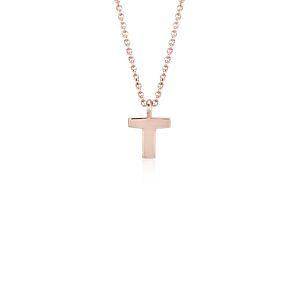 """T"" Mini Initial Pendant in 14k Rose Gold"