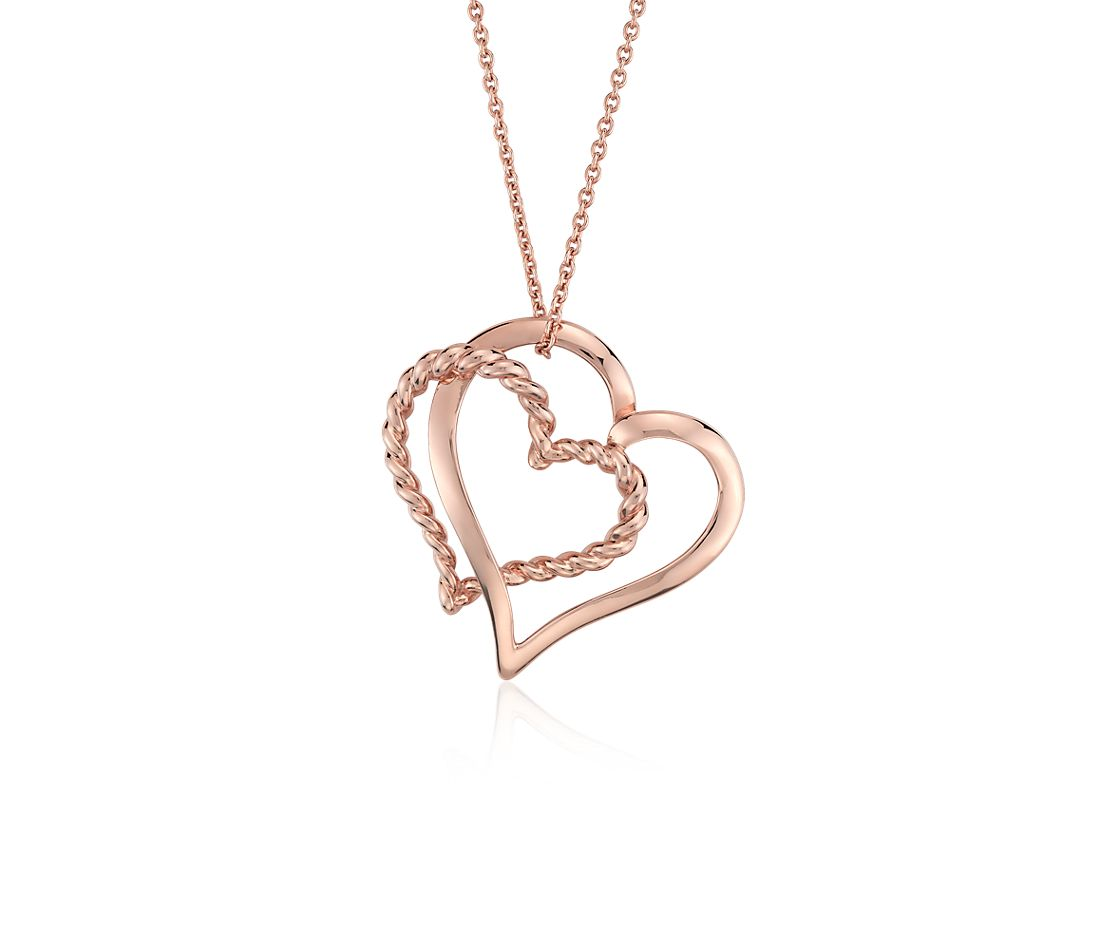 Twisted Hearts Pendant in 14k Rose Gold