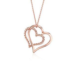 Colgante de corazones retorcidos en oro rosado de 14k
