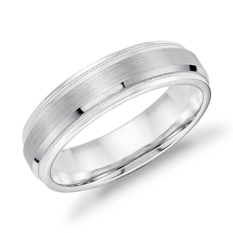 Brushed Inlay Milgrain and Rounded Edge Wedding Band in 14k White