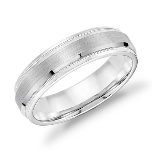 Td123886w 14k White Gold 6mm Double Milgrain Comfort Fit: Brushed Inlay Milgrain And Rounded Edge Wedding Band In