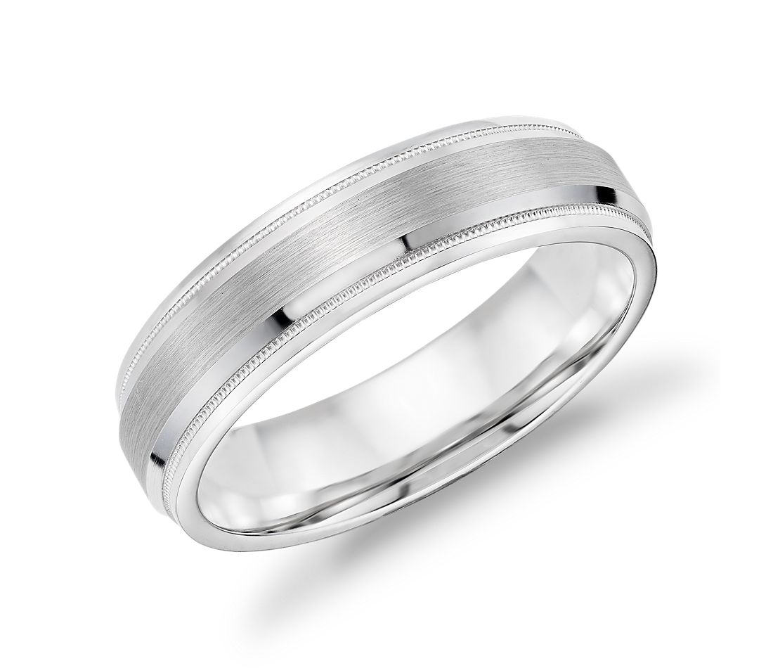 Brushed Inlay Milgrain and Rounded Edge Wedding Band in 14k White Gold (6mm)