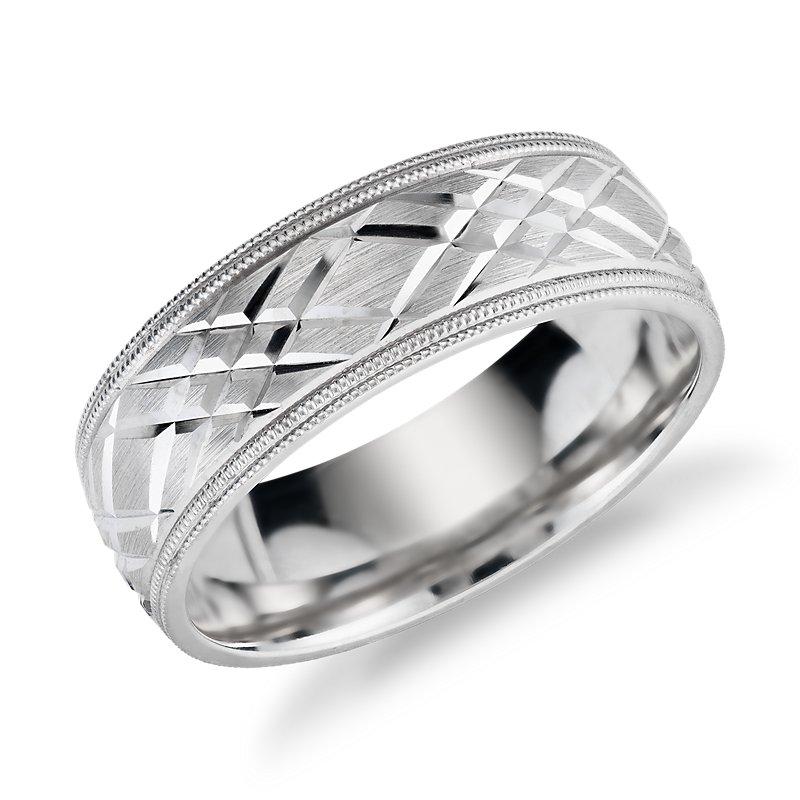 Swiss Cut Design Double Milgrain Edge Wedding Band in 14k White G