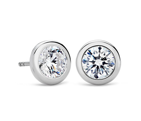 Bezel Earrings In 14k White Gold