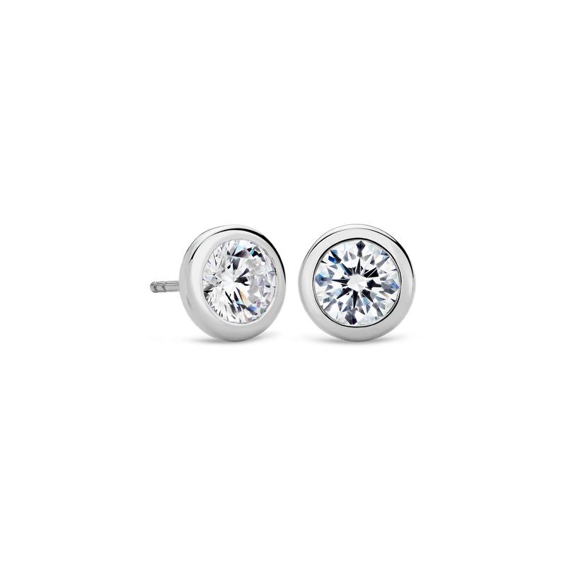 Bezel Earrings in 14K White Gold