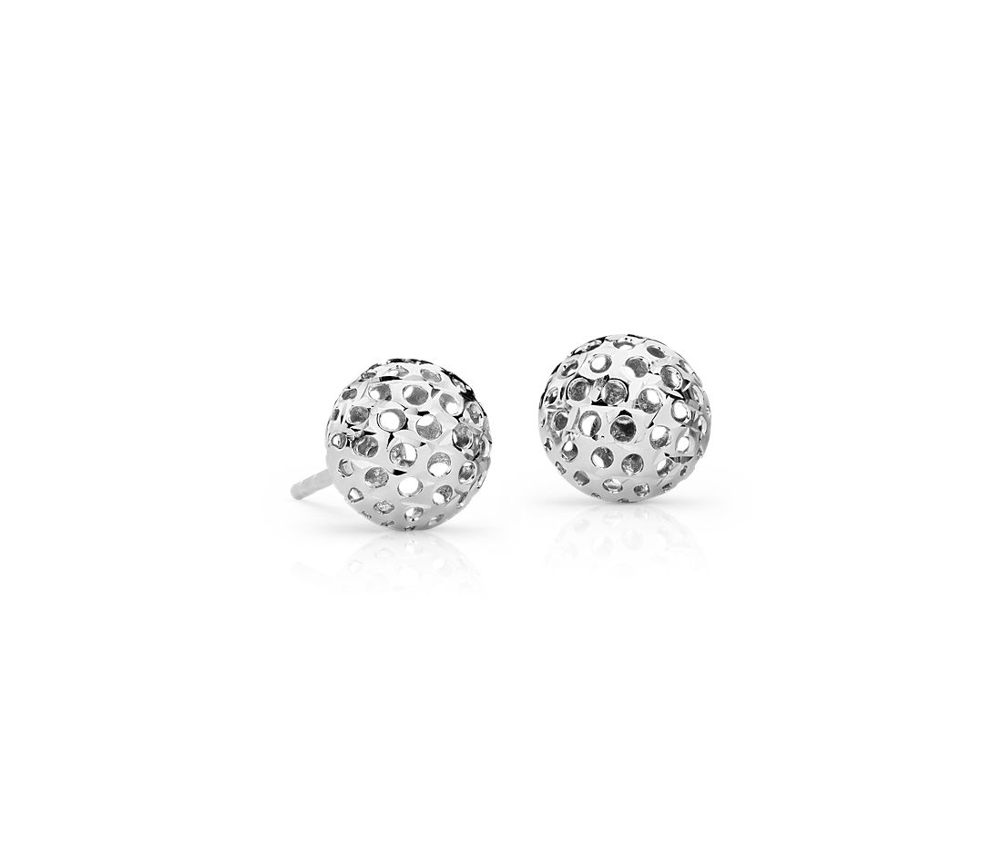 Carved Ball Stud Earrings In 14k White Gold 8mm