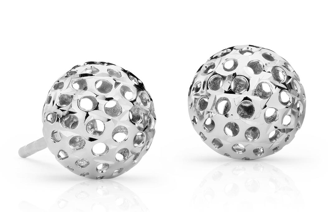 Carved Ball Stud Earrings in 14k White Gold (8mm)