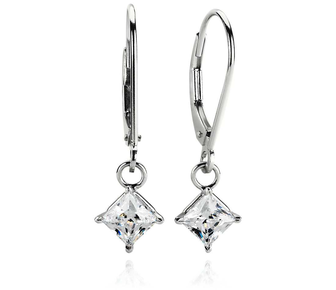 Four-Prong Leverback Dangle Earrings in 14k White Gold