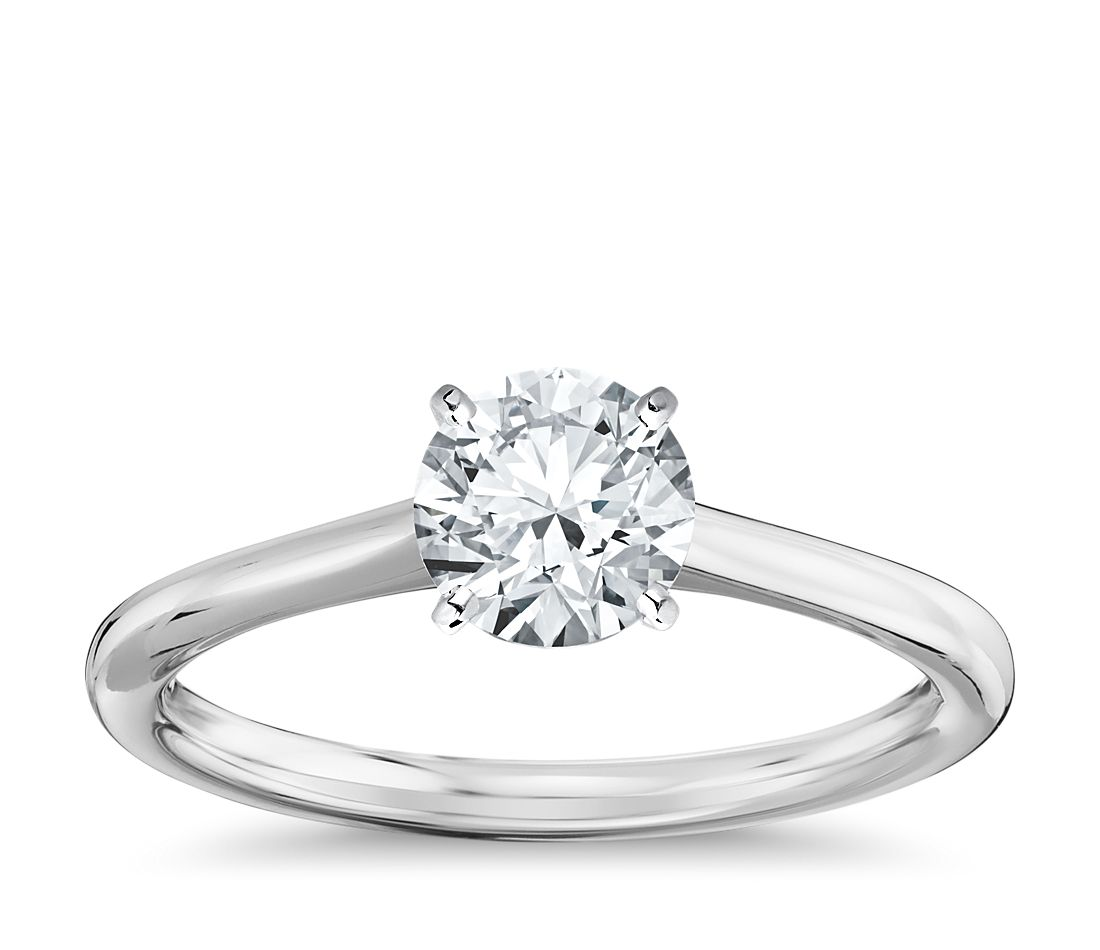 petite solitaire engagement ring in 14k white gold - White Gold Wedding Rings
