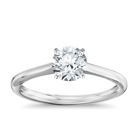 Pee Solitaire Engagement Ring In 14k White Gold