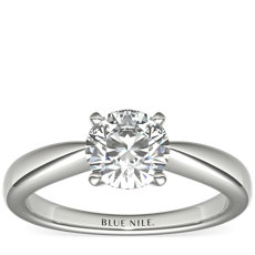 Classic Tapered Solitaire Engagement Ring in 14k White Gold