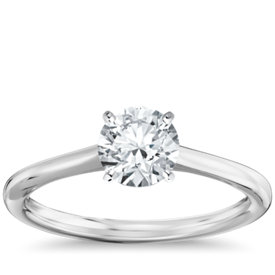 petite solitaire engagement ring in 14k white gold - Wedding Ring Setting