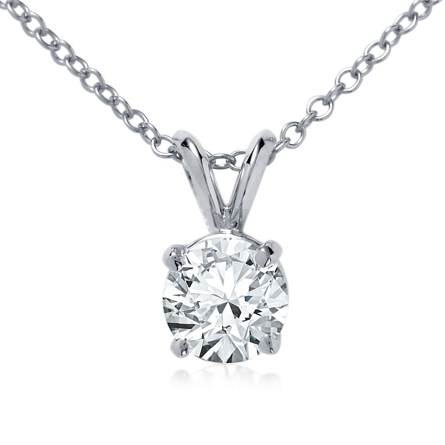 14k White Gold Four-Claw Pendant Setting