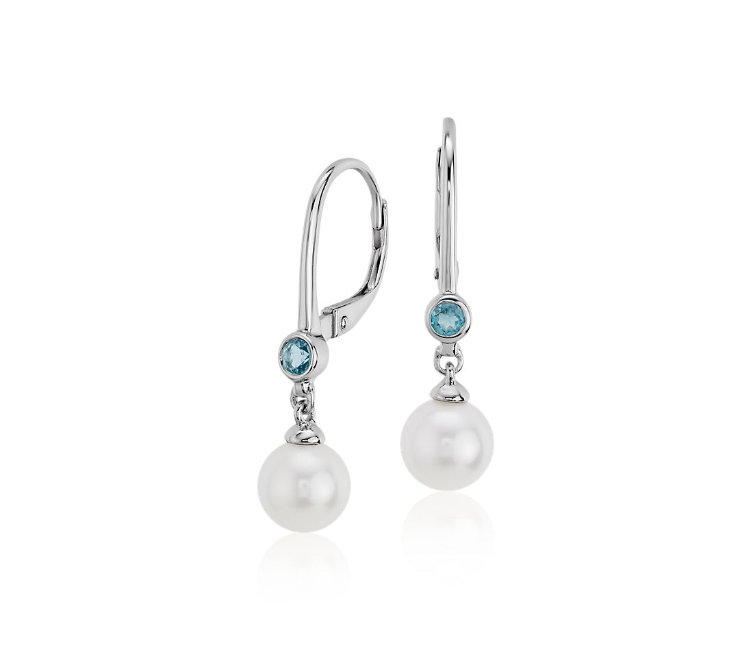 Freshwater Cultured Pearl And Blue Topaz Drop Earrings 14k White Gold 6 5mm