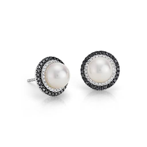 Blue Nile Freshwater Cultured Pearl and Diamond Stud Earrings in 14k White Gold (7mm) zUShBr6