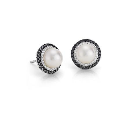 14k 白金淡水养珠钻石耳钉<br>(7毫米)
