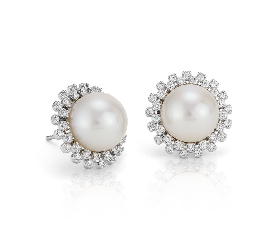 Freshwater Cultured Pearl And Diamond Halo Earrings In 14k White Gold 10mm
