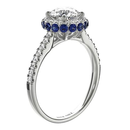 Hidden Sapphire Halo Diamond Engagement Ring