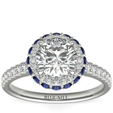 Hidden Sapphire Halo Diamond Engagement Ring in 14k White Gold (1/3 ct. tw.)
