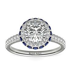 14k 白金隐藏设计蓝宝石光环钻石订婚戒指(1/3 克拉总重量)
