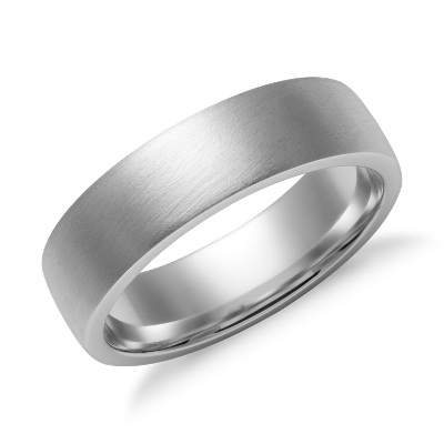 Matte Low Dome Comfort Fit Wedding Ring in 14k White Gold 6mm